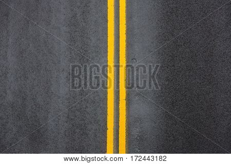 Yellow Double Solid Line On Asphalt