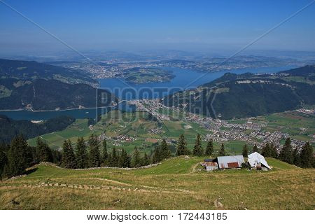 Distant view of lake Vierwaldstattersee and Lucerne. View from Stanserhorn.