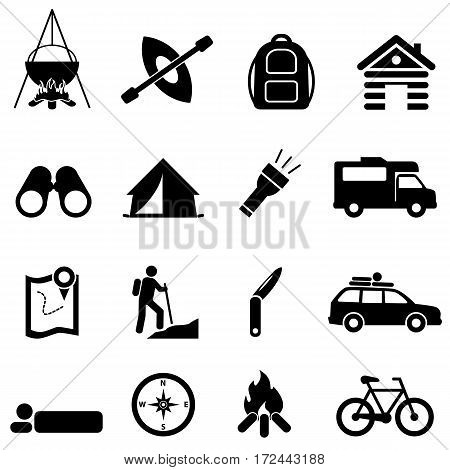 Leisure camping and recreational activities icon set