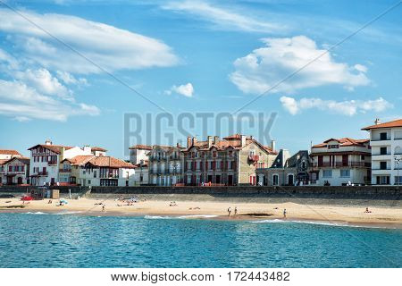 Landscape of Saint-Jean-de-Luz, France. Panoramic of luxure French balneological resort Saint Jean de Luz, Aquitaine.