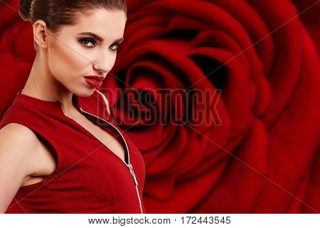 pretty woman on  red rose background,  sensual portrait