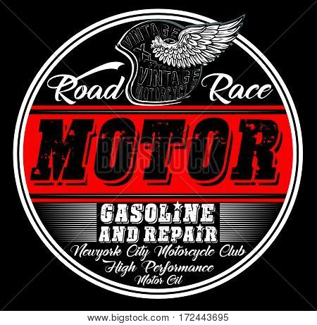 Garage repair service print for t shirt in custom colors grunge effect