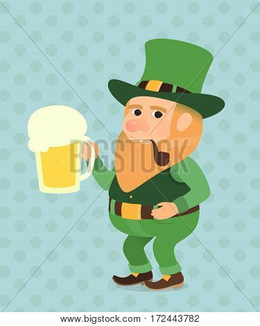 St. Patrick Day Vector illustration elf troll gnome goblin gremlin leprechaun with a pint of beer