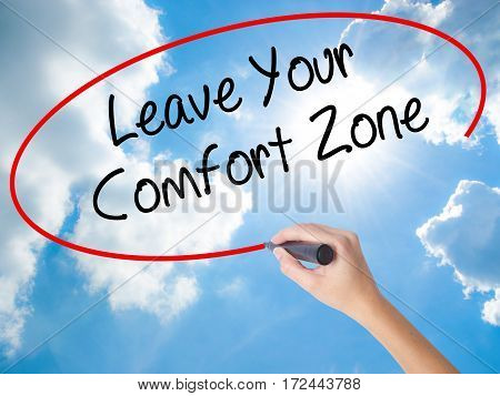 Woman Hand Writing Leave Your Comfort Zone With Black Marker On Visual Screen