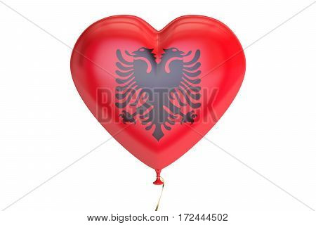 balloon with Albania flag in the shape of heart 3D rendering isolated on white background