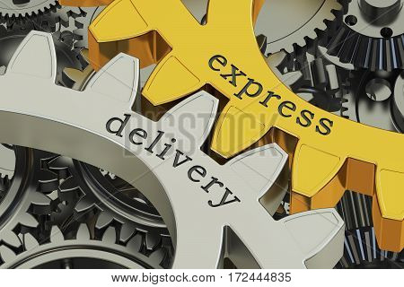 express delivery concept on the gearwheels 3D rendering