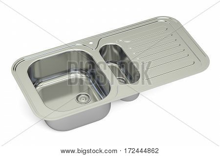 metallic kitchen sink 3D rendering isolated on white background
