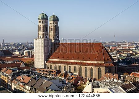Towers of the Frauenkirche (Cathedral of Our Dear Lady) in Munich the church is located close to Marienplatz