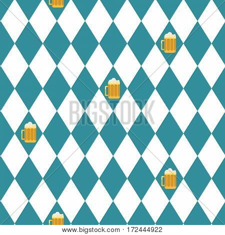 Beer oktoberfest seamless vector pattern. Blue and white rhombuses background.