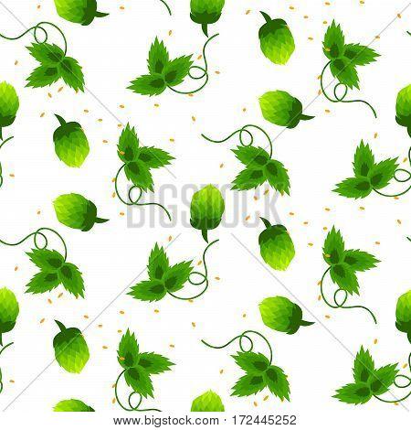 Hop plant green seamless vector pattern. Beer ingredient background.
