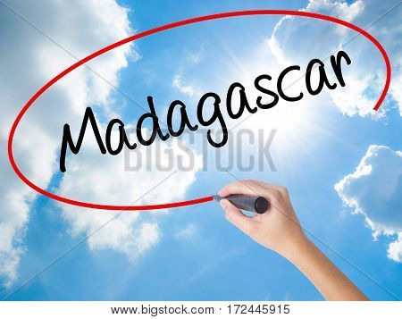 Woman Hand Writing Madagascar With Black Marker On Visual Screen