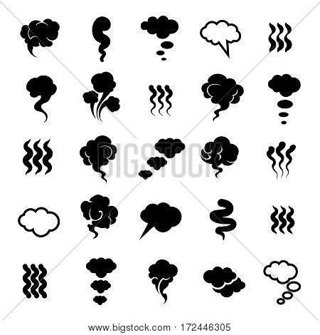 Smoking and steaming silhouettes isolated on white background. Vector illustration