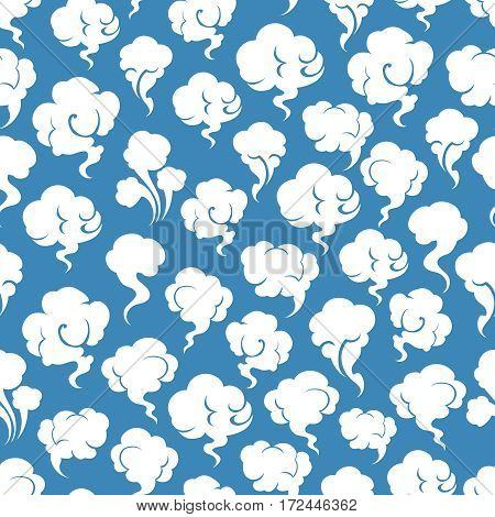 Smoking and steaming silhouettes on blue seamless pattern. Vector illustration