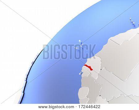 Gambia On Modern Shiny Globe