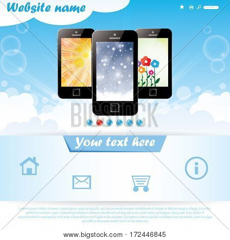 Modern seasonal background website template for mobile company