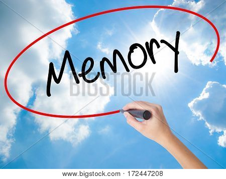 Woman Hand Writing Memory  With Black Marker On Visual Screen