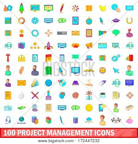 100 project management icons set in cartoon style for any design vector illustration
