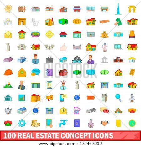 100 real estate concept icons set in cartoon style for any design vector illustration