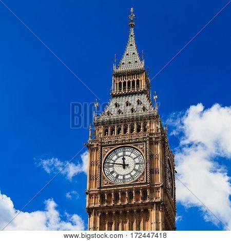 Close up Big Ben on Sunny Day London UK