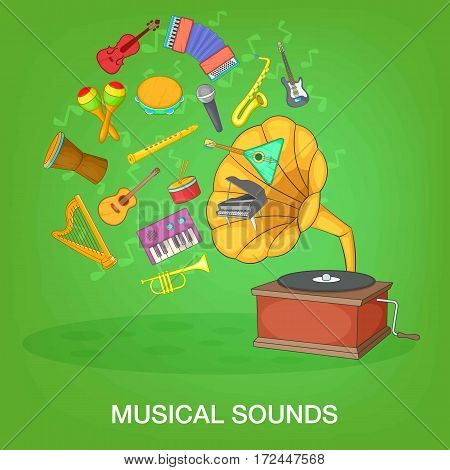 Musical instruments green concept set. Cartoon illustration of musical instruments green vector concept for web