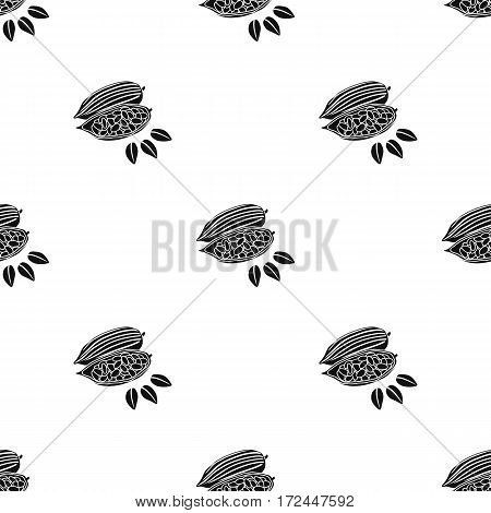 Roasted cacao beans icon in black style isolated on white background. Herb an spices pattern vector illustration.