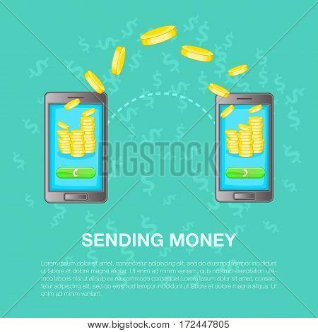 Sending money concept set. Cartoon illustration of sending money vector concept for web