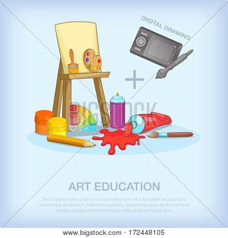 Art education tools concept set. Cartoon illustration of art education tools vector concept for web