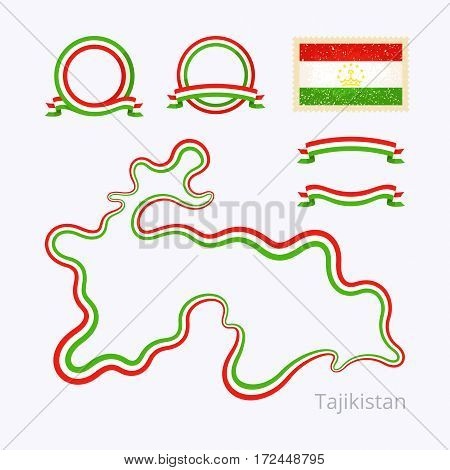 Tajikistan - Outline Map And Ribbons