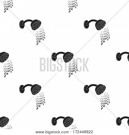 Shower icon in black style isolated on white background. Hotel pattern vector illustration.
