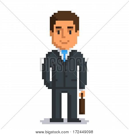 Businessman isolated on white background. Office man with suitcase pixel game style illustration. Worker vector pixel art design. funny 8 bit people character icon.