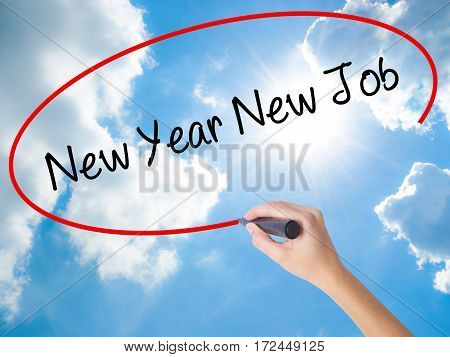 Woman Hand Writing New Year New Job With Black Marker On Visual Screen