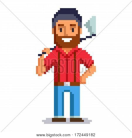Woodcutter isolated on white background.  Lumberjack pixel game style illustration. lumberman vector pixel art design. funny 8 bit people character icon.