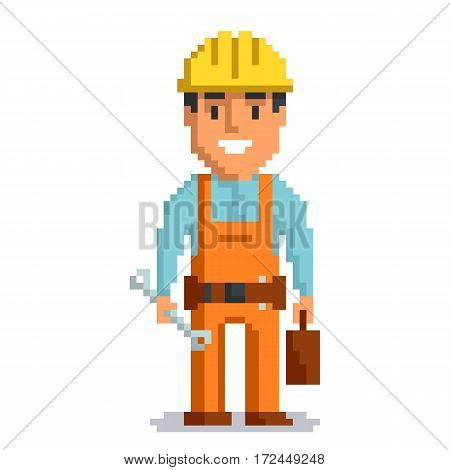 Builder isolated on white background. Repair man with tools pixel game style illustration. Repairman vector pixel art design. funny 8 bit people character icon.