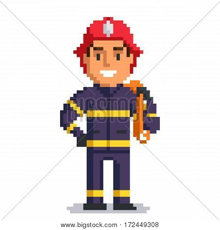 Firefighter isolated on white background. fireman pixel game style illustration. vector pixel art design. funny 8 bit people character icon.