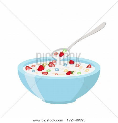 Cereal rings, strawberry, spoon and bowl. Oatmeal breakfast with milk, organic muesli. Flat vector style.