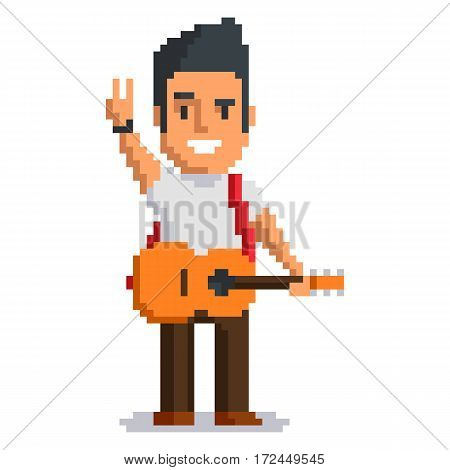 Musician isolated on white background. Music man pixel game style illustration. vector pixel art design. funny 8 bit people character icon.