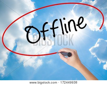 Woman Hand Writing Offline  With Black Marker On Visual Screen