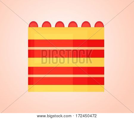Tall birthday cake with a bright layer of jelly and cream isolated on simple gradient background.