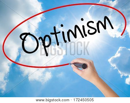 Woman Hand Writing Optimism  With Black Marker On Visual Screen