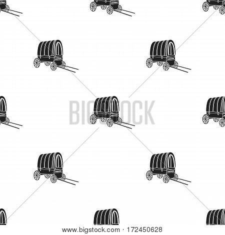 Cowboy wagon icon in black style isolated on white background. Wlid west pattern vector illustration.