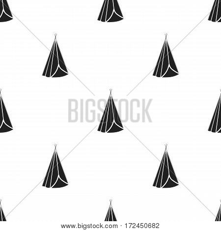 Wigwam icon in black style isolated on white background. Wlid west pattern vector illustration.