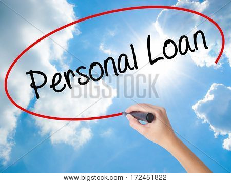 Woman Hand Writing Personal Loan With Black Marker On Visual Screen