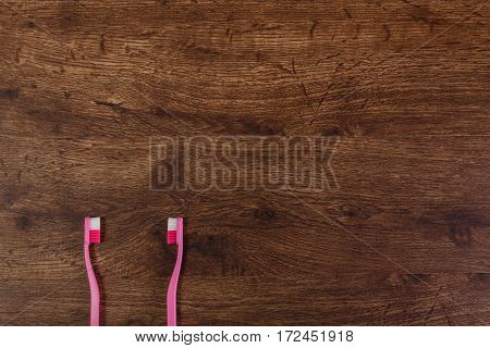 Lesbian couple love concept with toothbrushes. Valentines day design on wood vintage background. Wooden rustic board.