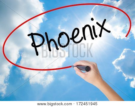 Woman Hand Writing Phoenix  With Black Marker On Visual Screen