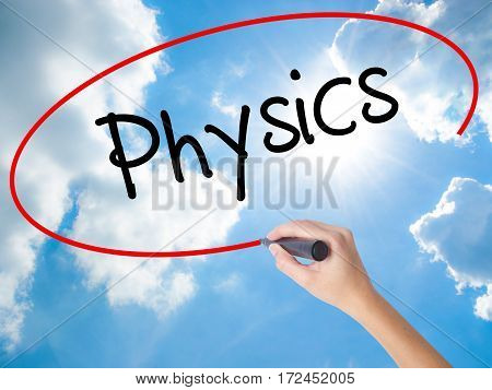 Woman Hand Writing Physics With Black Marker On Visual Screen