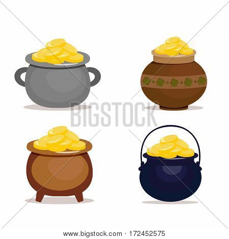 Set of ceramic pots full of gold coins for Patrick's day. Vector, illustration in flat style isolated on white background EPS10