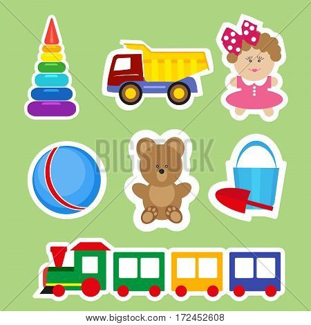 Set of stickers for decoration of children's rooms. Vector, illustration in flat style isolated on green background EPS10
