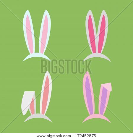Rabbit ears collection for Easter. Set of masks in flat style isolated on white background. Vector, EPS10