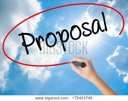 Woman Hand Writing  Proposal With Black Marker On Visual Screen