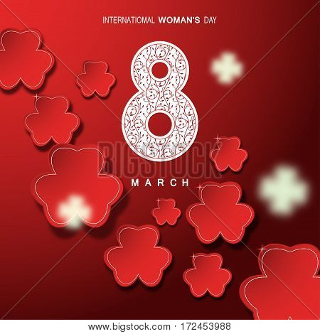 Vector abstract gradient red background for International Woman's Day 8 of March with red leaves cut from paper number eight with floral pattern and glowing silhouette.